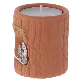 Portalumino cilindrico color terracotta naturale con Natività Deruta s2