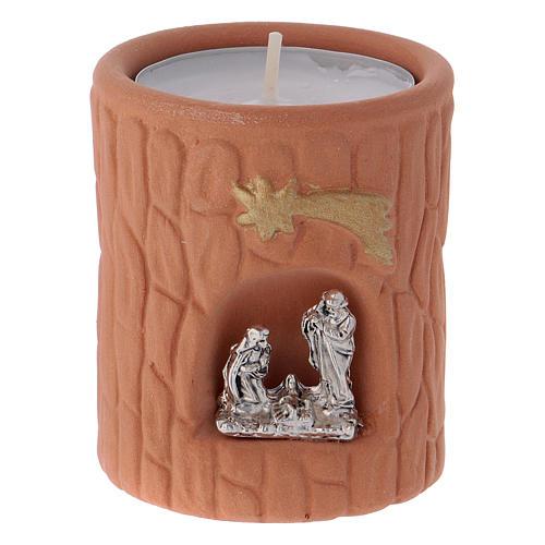 Portalumino cilindrico color terracotta naturale con Natività Deruta 1