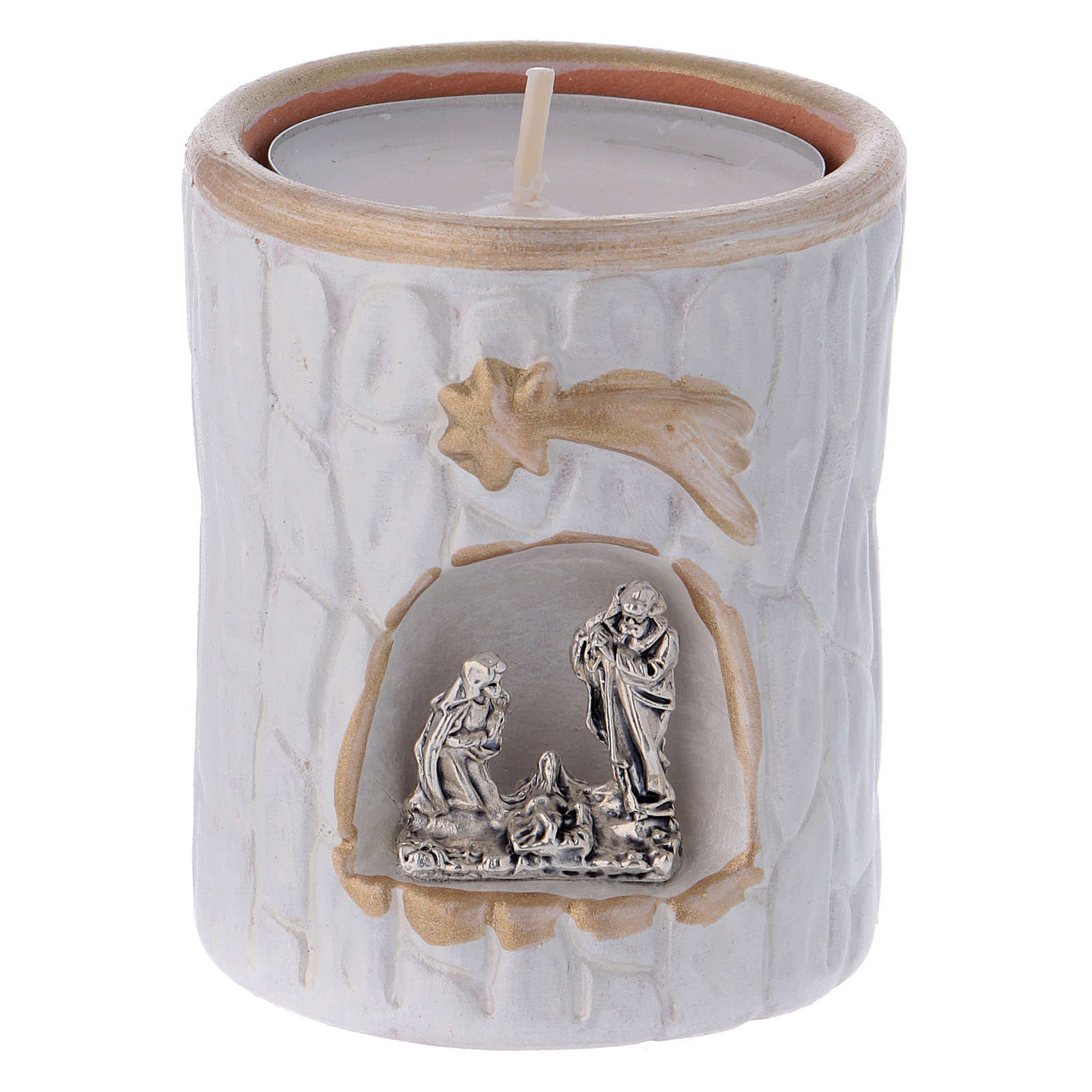 Country-style candle holder in Deruta terracotta with Nativity Scene 3