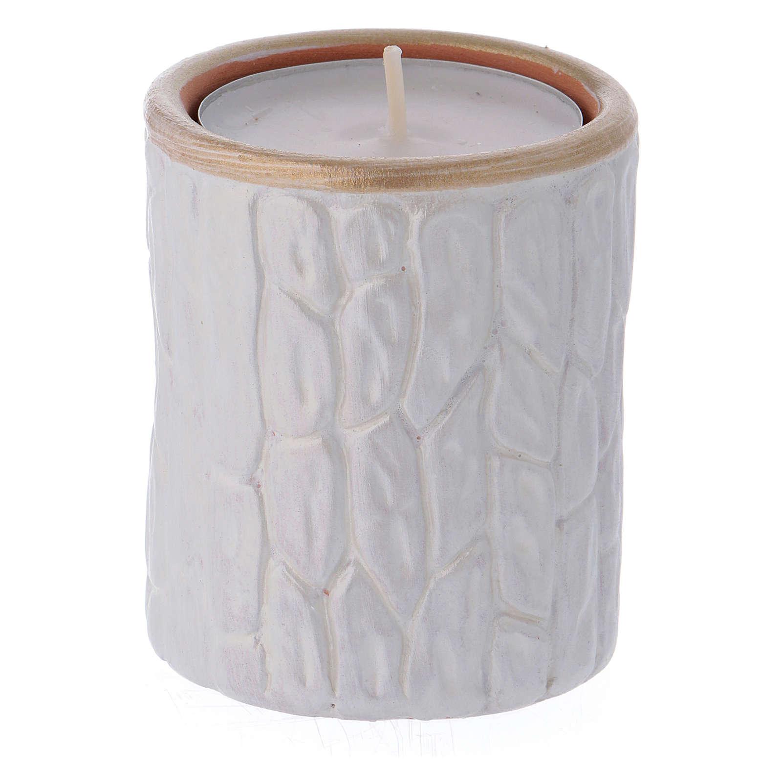 Portalumino bianco finiture oro con Natività terracotta Deruta 3