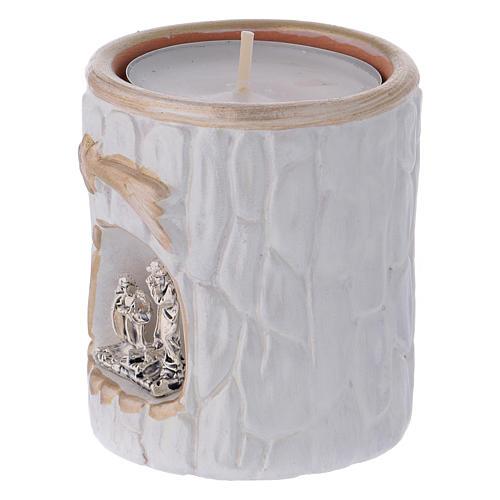 Portalumino bianco finiture oro con Natività terracotta Deruta 2