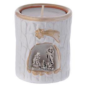 Porta-velas: Porta-vela branco com detalhes dourados e Natividade terracota Deruta
