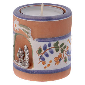 Country-style candle holder in Deruta terracotta with Nativity Scene s2