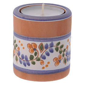 Country-style candle holder in Deruta terracotta with Nativity Scene s3