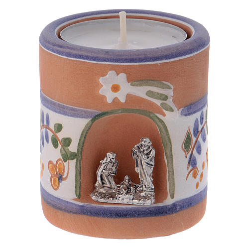 Country-style candle holder in Deruta terracotta with Nativity Scene 1