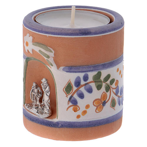 Country-style candle holder in Deruta terracotta with Nativity Scene 2