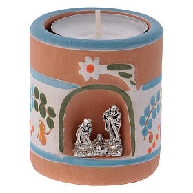 Portalumino stile Country azzurro con Natività terracotta Deruta s1