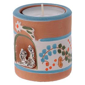 Portalumino stile Country azzurro con Natività terracotta Deruta s2