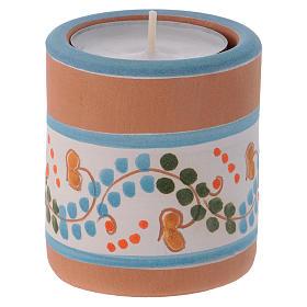 Portalumino stile Country azzurro con Natività terracotta Deruta s3