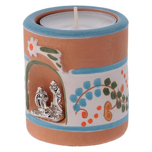 Portalumino stile Country azzurro con Natività terracotta Deruta 2