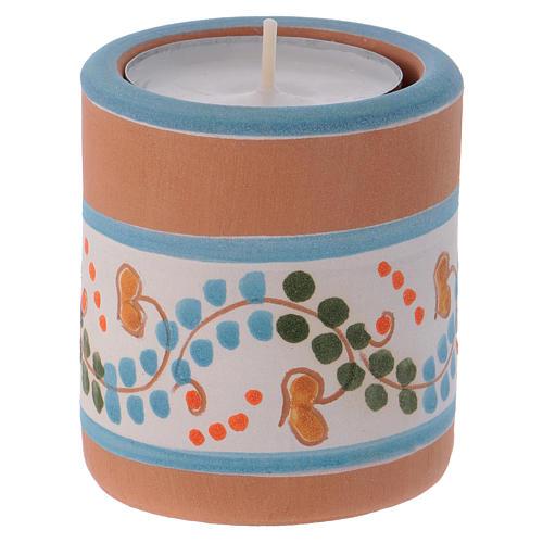 Portalumino stile Country azzurro con Natività terracotta Deruta 3