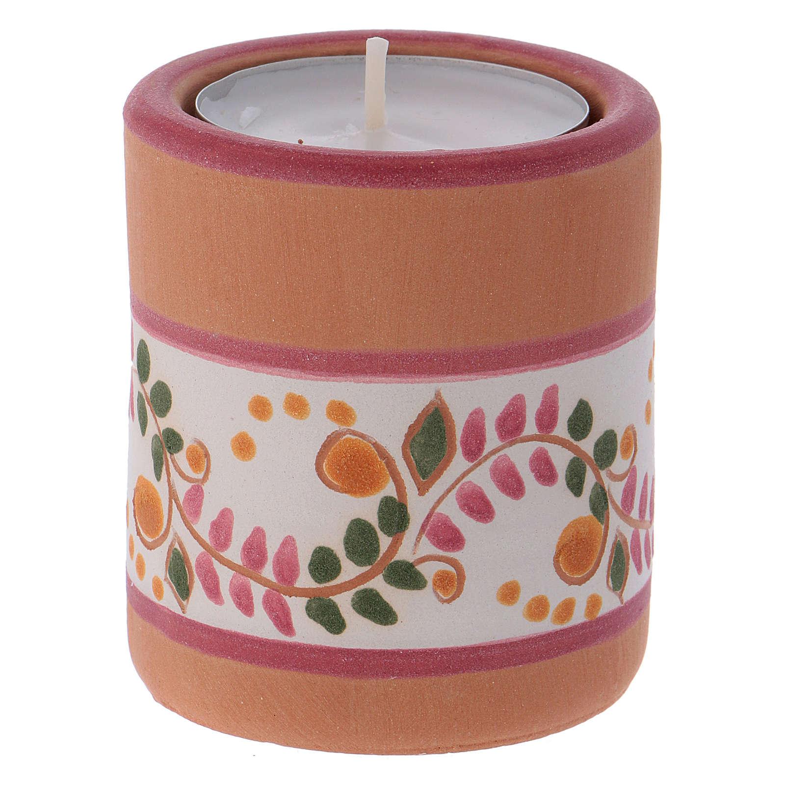 Portavela estilo Country rosa con Natividad de terracota Deruta 3