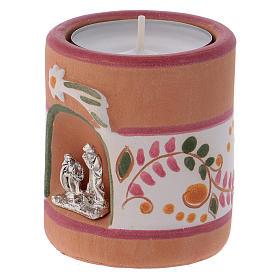 Portavela estilo Country rosa con Natividad de terracota Deruta s2