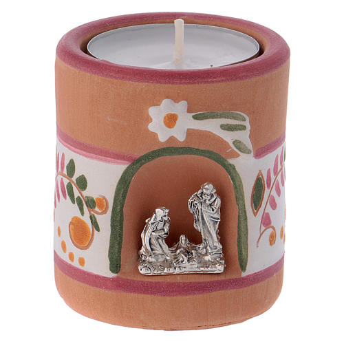 Portalumino stile Country rosa con Natività in terracotta Deruta 1