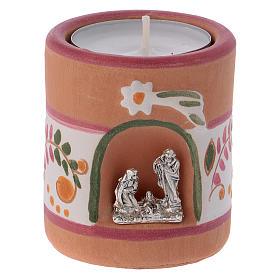 Porta-velas: Porta-vela estilo rústico cor-de-rosa com Natividade terracota Deruta