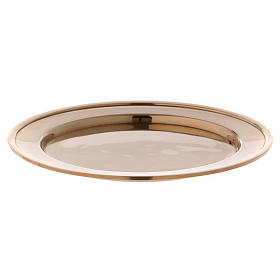 Candle holder plate in gold-plated brass s1