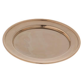 Candle holder plate in gold-plated brass s3