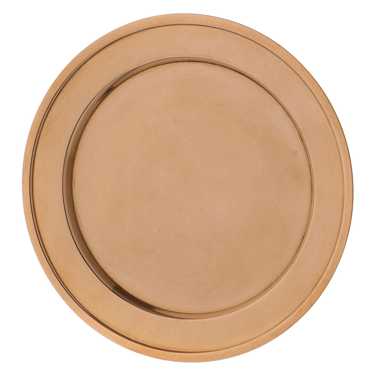 Plato portavela de latón dorado 3