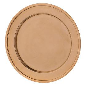 Assiette porte-bougie en laiton doré s2