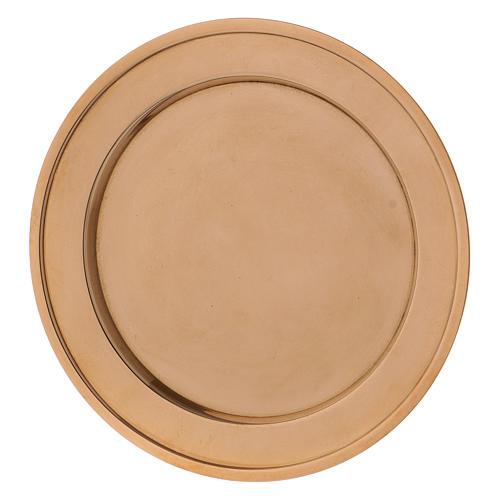Assiette porte-bougie en laiton doré 2