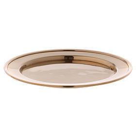 Porta-velas: Prato porta-vela em latão dourado