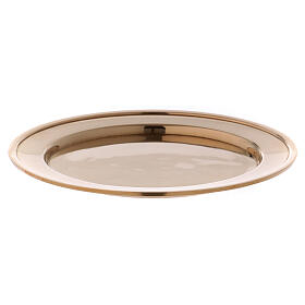 Candle holder plate in gold plated brass s1