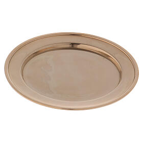 Candle holder plate in gold plated brass s3