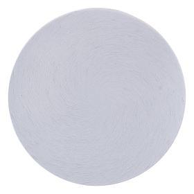 Porta-velas: Prato porta-vela alumínio branco diâm. 10 cm