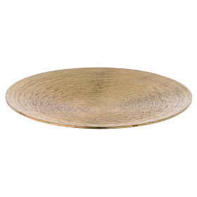 Round candle holder plate in gold-plated aluminium s1