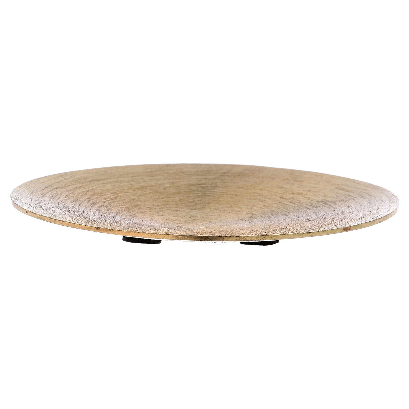 Plato portavela redondo de aluminio dorado 3