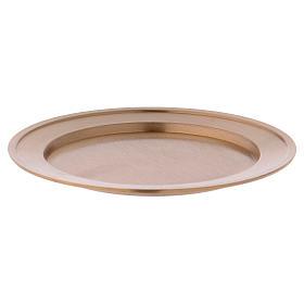Porta-velas: Porta-vela prato em latão dourado opaco diâm. 11 cm