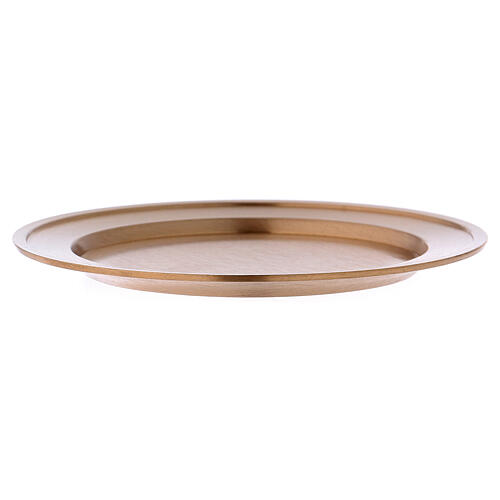 Matte gold plated brass candle holder plate diam. 4 1/4 in 3
