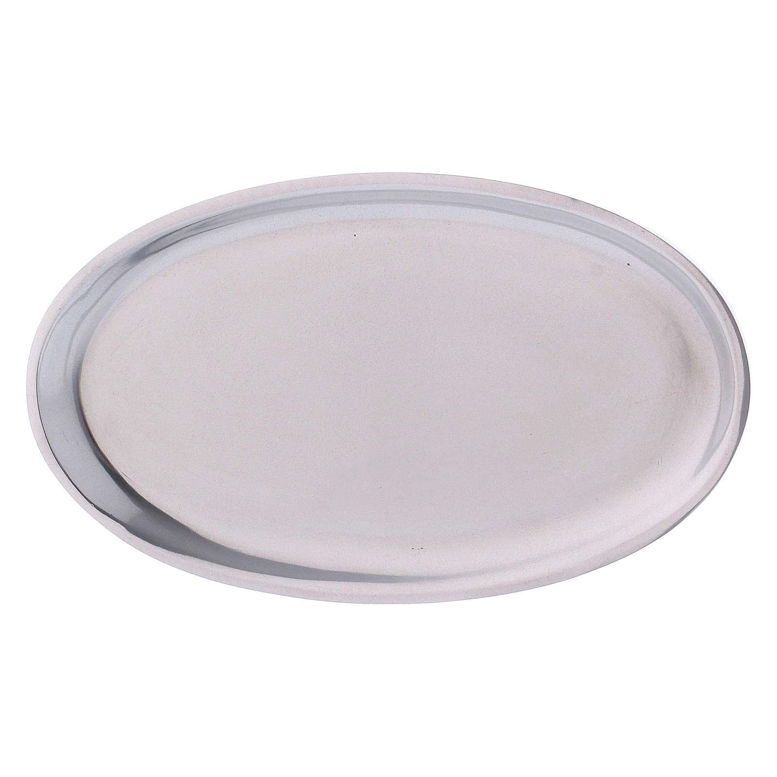 Portacandele in alluminio lucidato ovale 3