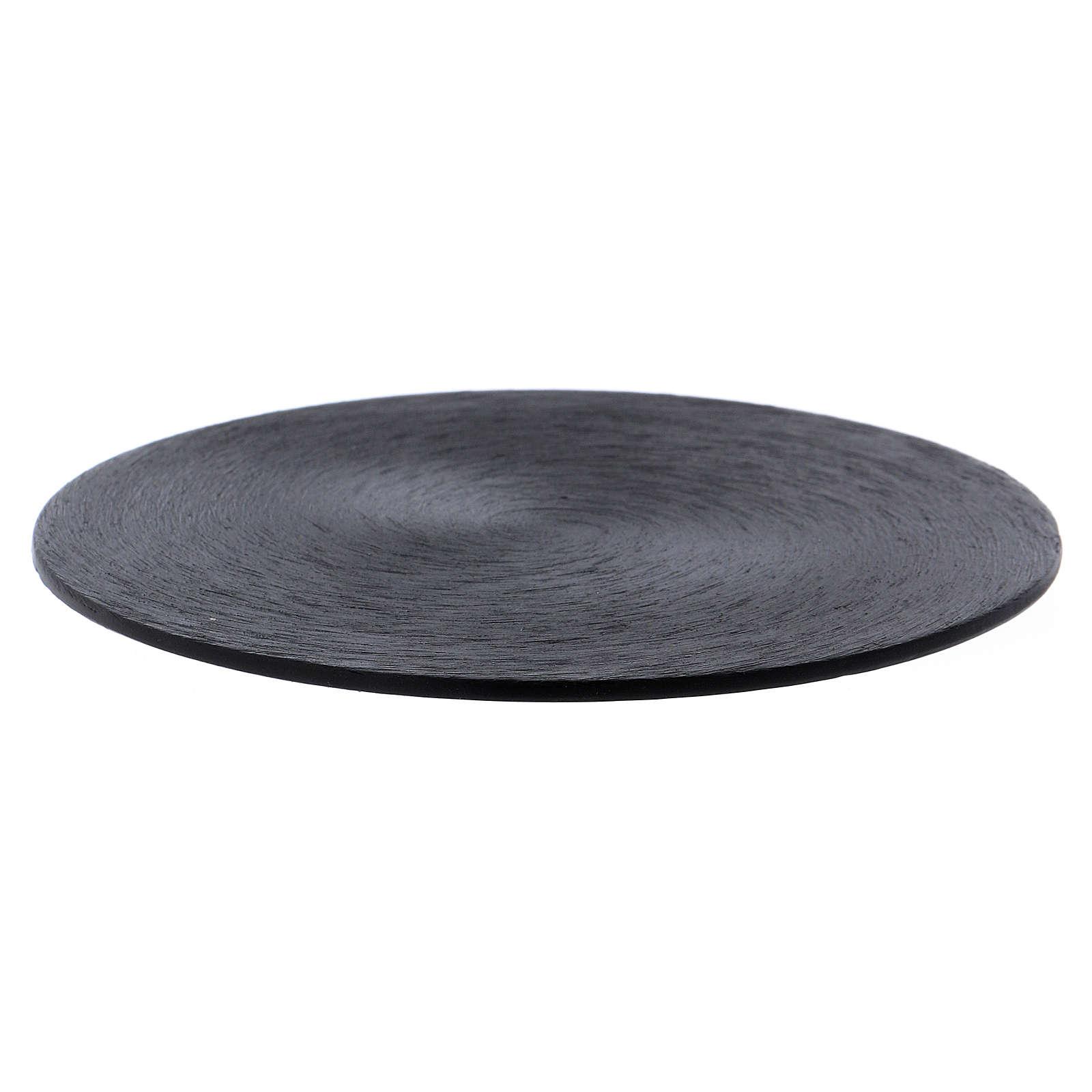 Candle holder plate in black aluminium 3