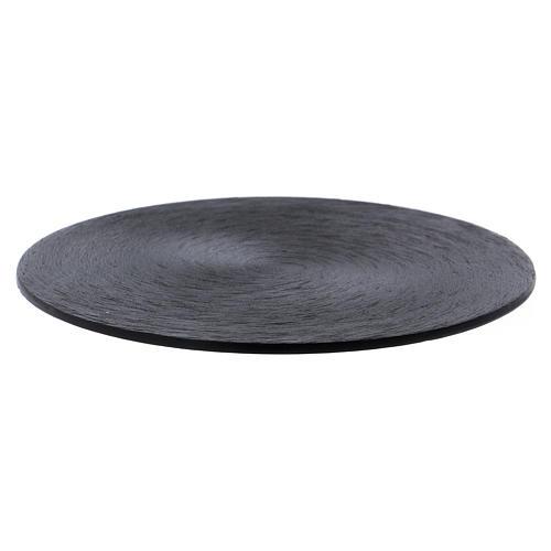 Plato portavela de aluminio negro 1