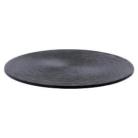Assiette bougeoir en aluminium noir s1