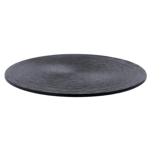Black aluminium candle holder plate 1