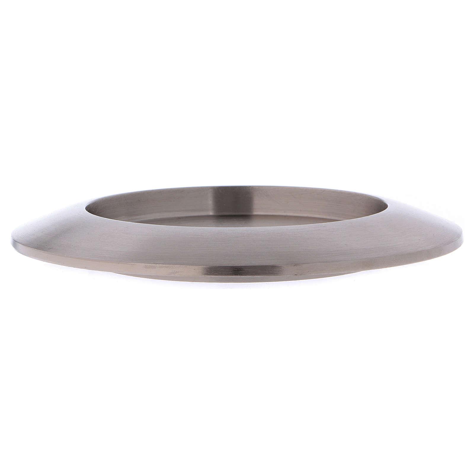 Portacandele tondo in ottone argentato diam. 9 cm 3