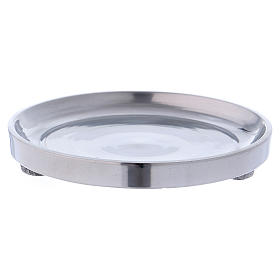 Candle holders: Candle holder in glossy silver-plated aluminium diam. 10 cm