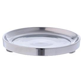 Porta-velas: Castiçal em alumíno prateado brilhante diâm. 10 cm