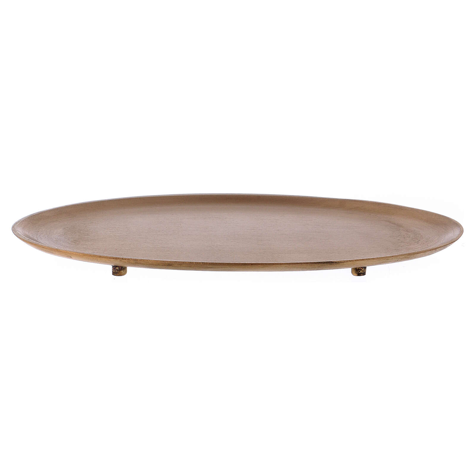 Oval candle holder in gold plated brass with satin finish 3