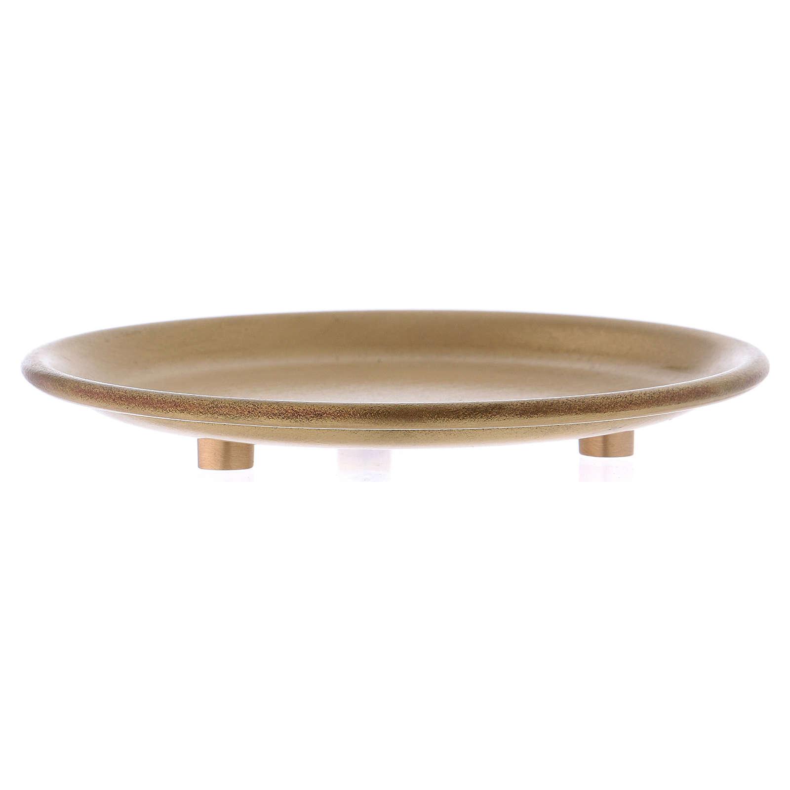 Plato portavela de latón dorado satinado diámetro d. 9 cm 3