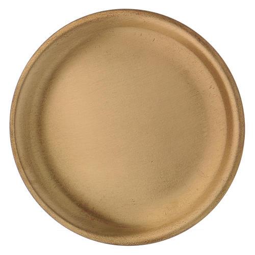 Plato portavela de latón dorado satinado diámetro d. 9 cm 2