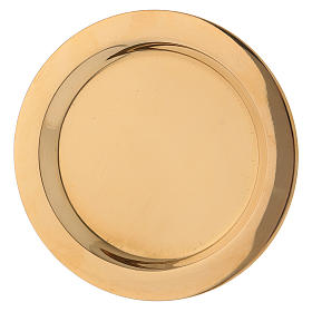 Candle holder plate in glossy gold-plated brass diam. 11 cm s2