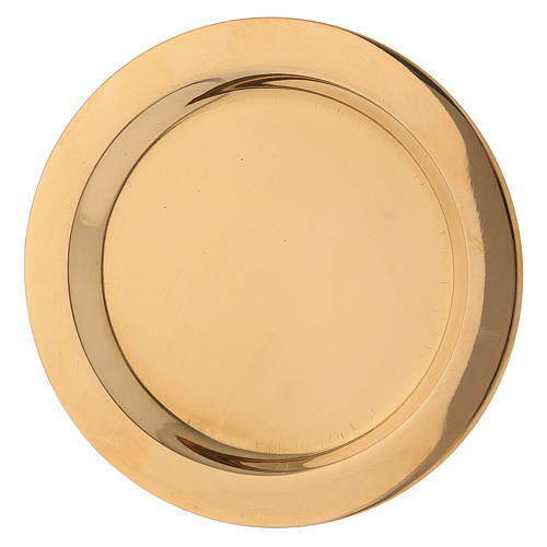 Candle holder plate in glossy gold-plated brass diam. 11 cm 2