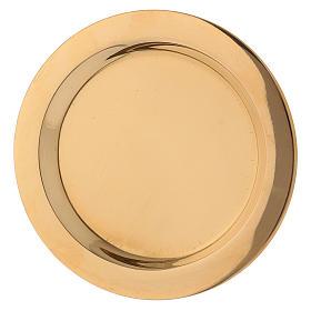 Plato portavela de latón lúcido dorado diámetro d. 11 cm s2