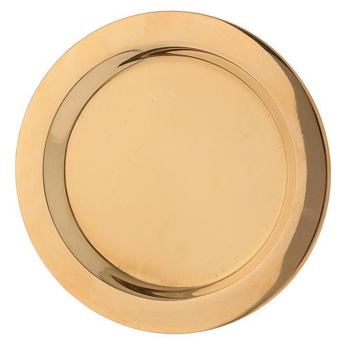 Assiette bougeoir en laiton brillant doré diam. 11 cm 2