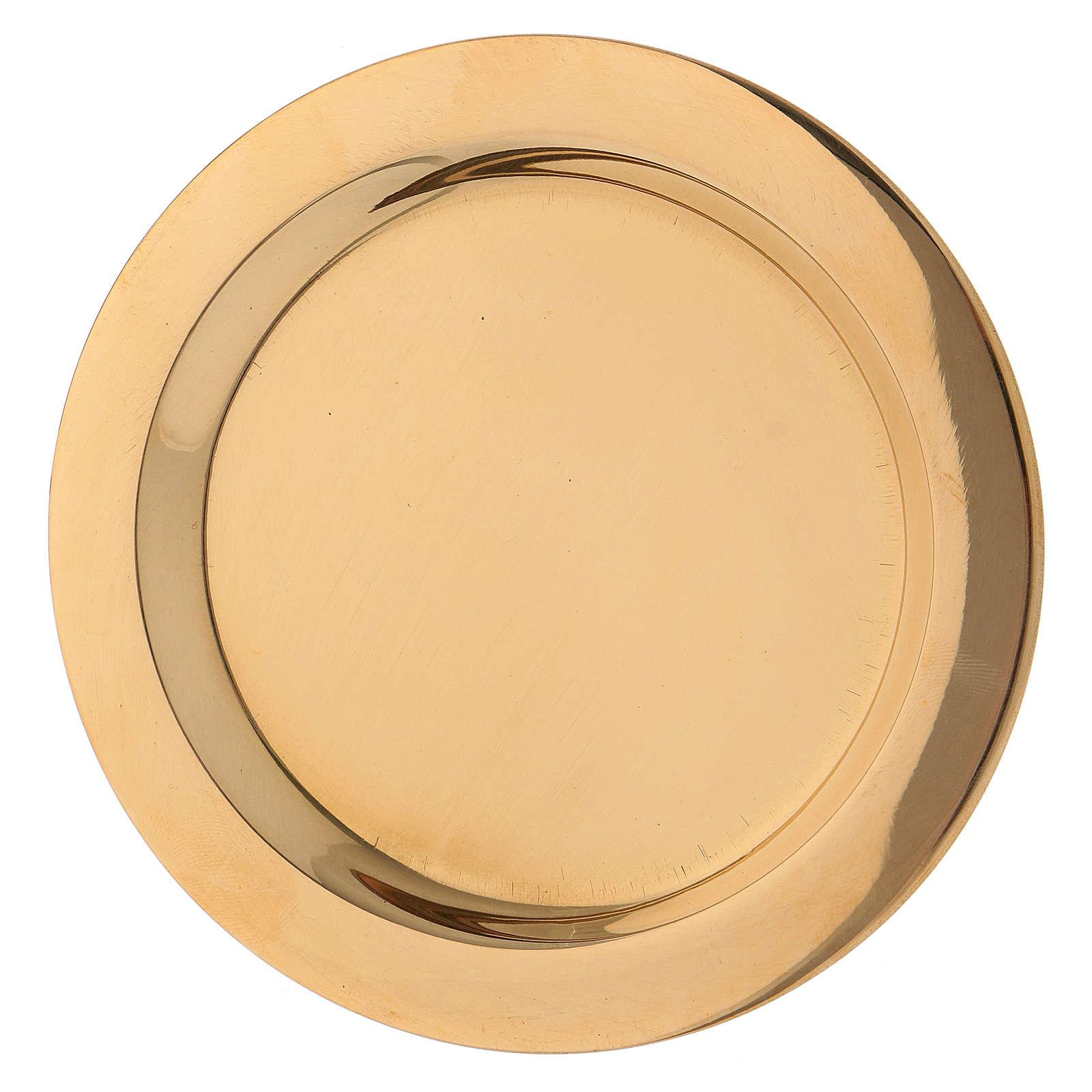 Piatto portacandele in ottone lucido dorato diametro d. 11 cm  3