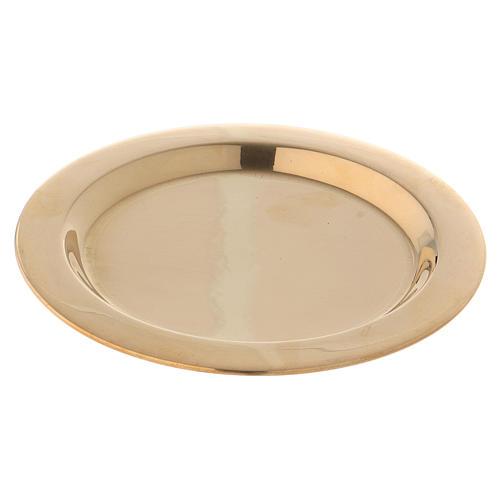 Piatto portacandele in ottone lucido dorato diametro d. 11 cm  1