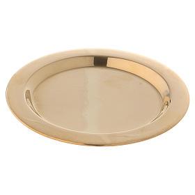 Porta-velas: Prato porta-vela em latão brilhante dourado diâm. 11 cm